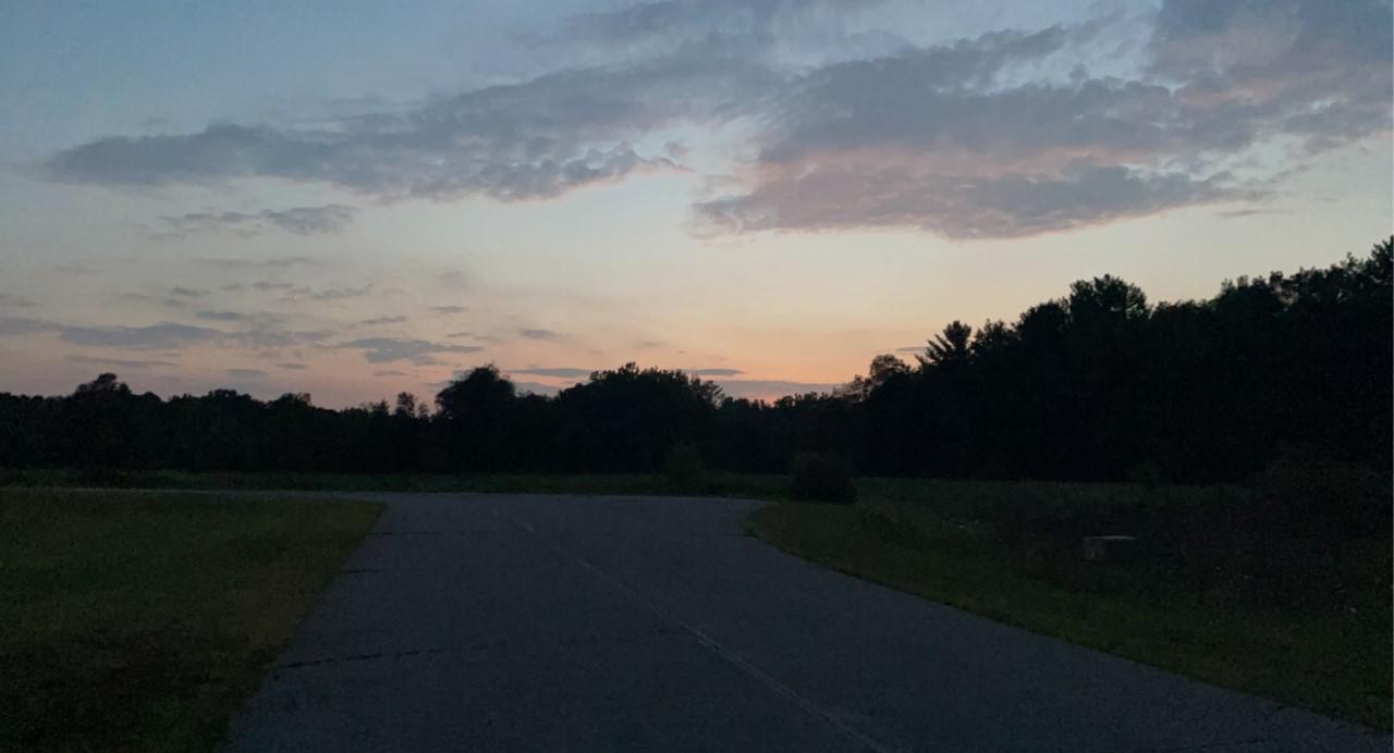 Sunset during Dominique's two mile evening trek